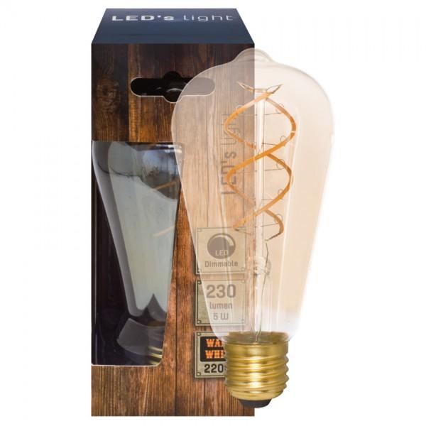 Dekoratives Spiral-LED Leuchtmittel 2200K, gold getönt, 5W Edison