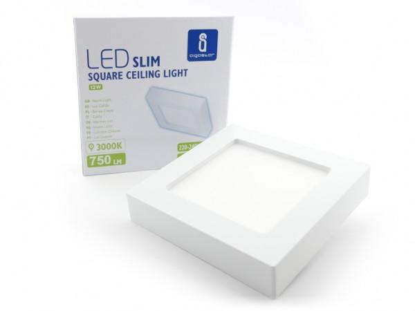 LED Aufbaupanel eckig, 172x172mm 12W, 3000K, 750lm, inkl Netzteil weiss