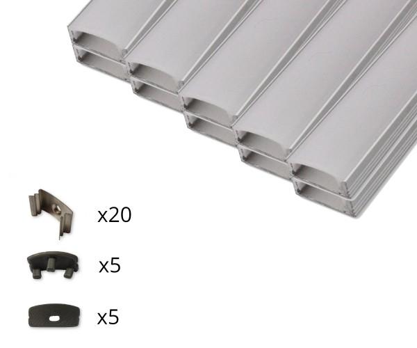 10er Set AL-04AB Aufbauprofil inkl. Abdeckung, Endkappen und Halteklammern