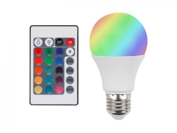 LAL1-RGBW LED Leuchtmittel E27 230VAC RGBW 7,5W inkl. Fernbedienung