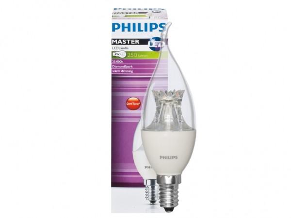 LED Kerzenlampe MASTER-LED 6W 230V 470lm, CND-Dimmung, klar, Flame