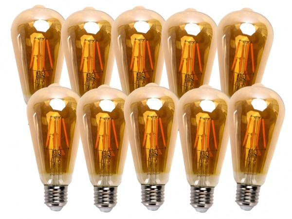 LED Filament Leuchtmittel E27 Edison 8W 2200K Gold 10er Pack