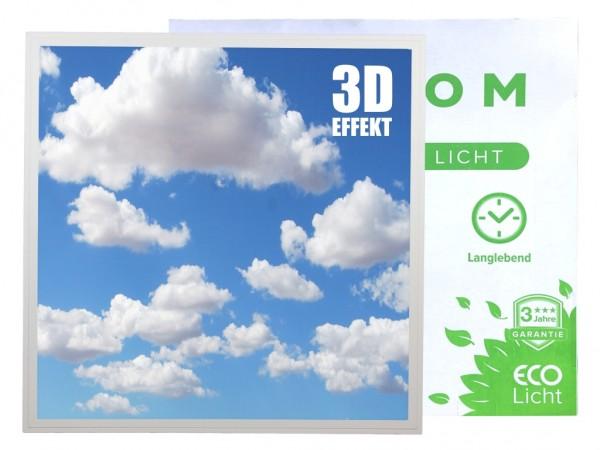 LED Panel 620x620 3D Motiv Himmel 1600lm 40W 30.000Std. inkl. Netzteil