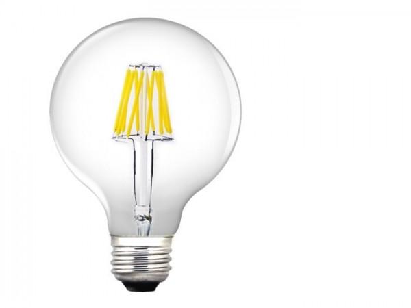 LED XF Birnenlampe 6W 550lm 230V 2700K, Glas klar Filament dimmbar