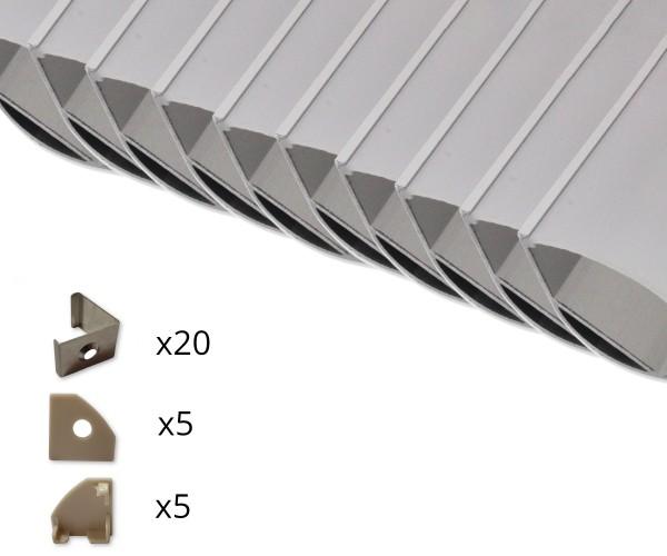 10er Set AL-205EC Eckprofil inkl. Abdeckung, Endkappen und Halteklammern