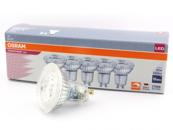 LED-Reflektorlampe, 5er-Pack,PARATHOM, PAR16, GU10 230V 4,6W dimmbar