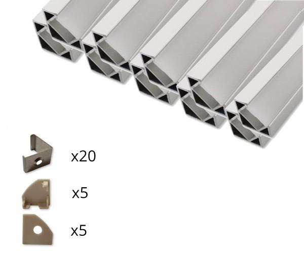10er Set AL-09EC Eckprofil inkl. Abdeckung, Endkappen und Halteklammern