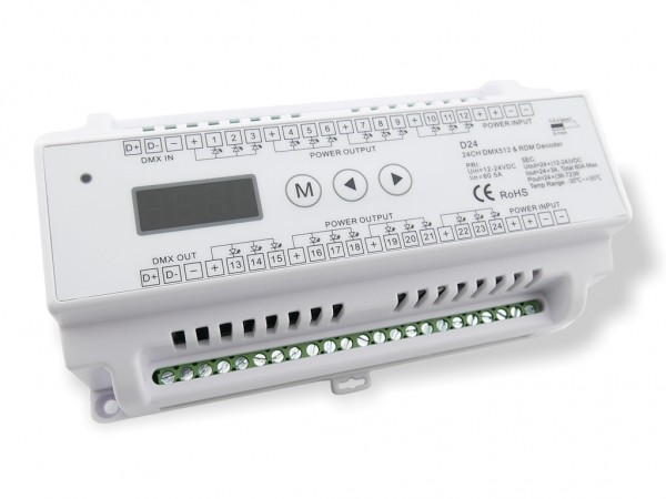 D24-DIN LED DMX Controller Hutschiene 24x3A 12-24VDC