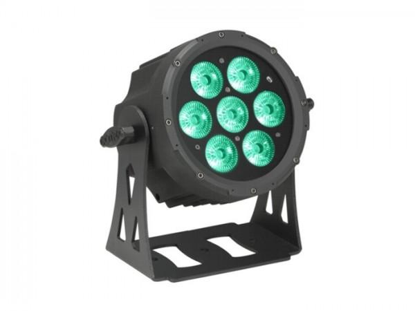 LED FlatPAR IP65 RGBWA 7x10W, 8 DMX Kanäle, schwarz