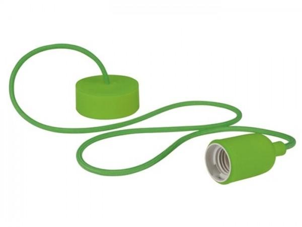 E27 Kabelleuchte 1,40m Textilkabel Silikon - grün -