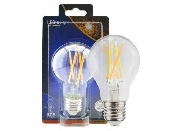 LED Leuchtmittel A60 7W klar dim-to-warm dimmbar 806lm 2200-2700K