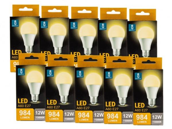 LED Leuchtmittel A60 12W E27 3000K warmweiss 10er Pack