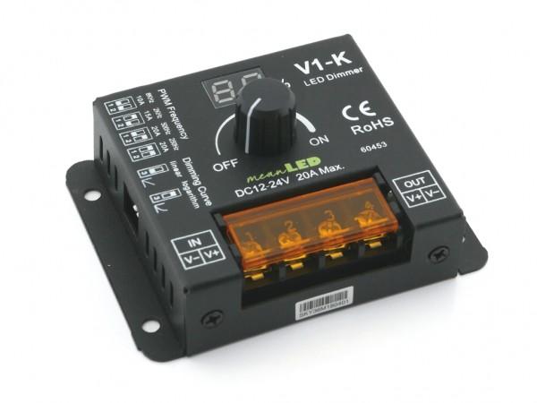 V1-K 1-Kanal Drehdimmer 20A einstellbare PWM Frequenz