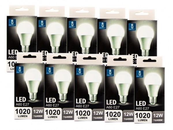 LED Leuchtmittel A60 12W E27 6400K kaltweiss 10er Pack