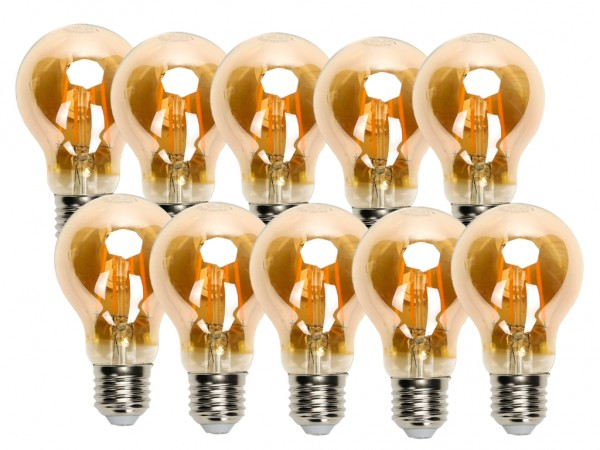 LED Filament Leuchtmittel E27 A60 8W 2200K Gold 10er Pack