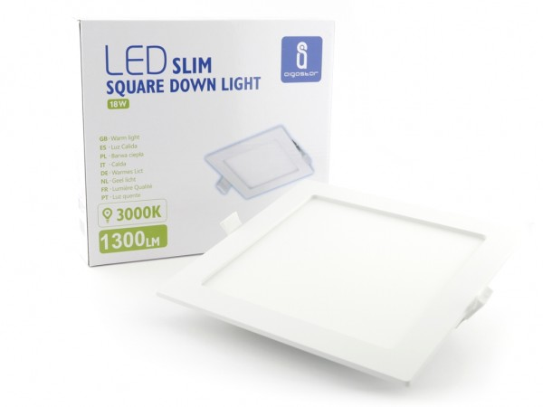 LED Panel Eckig, 18W, 3000K, 1300lm, 220mm x 220mm weiss