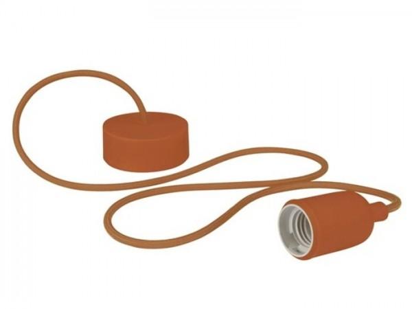 E27 Kabelleuchte 1,40m Textilkabel Silikon - braun -