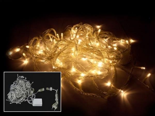 LED Lichterkette 10m 100LEDs 7 Programme 3000K (warmweiss)