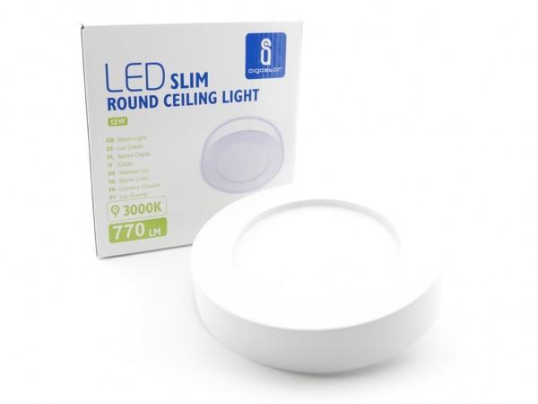 LED Aufbaupanel Rund Ø177mm, 3000K, 12W, 750lm, inkl Netzteil weiss