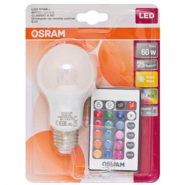 LED Star+ RGBW LED Leuchtmittel E27 230VAC RGBW 9W inkl. Fernbedienung