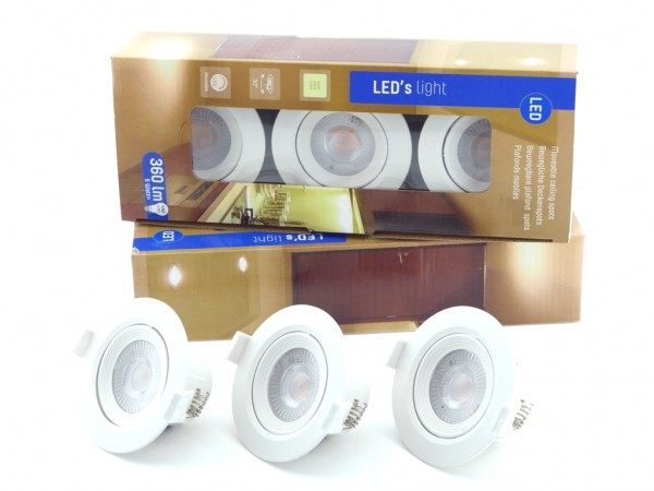 LED Spot Set 3 Stück 5W 2700K Dimmbar