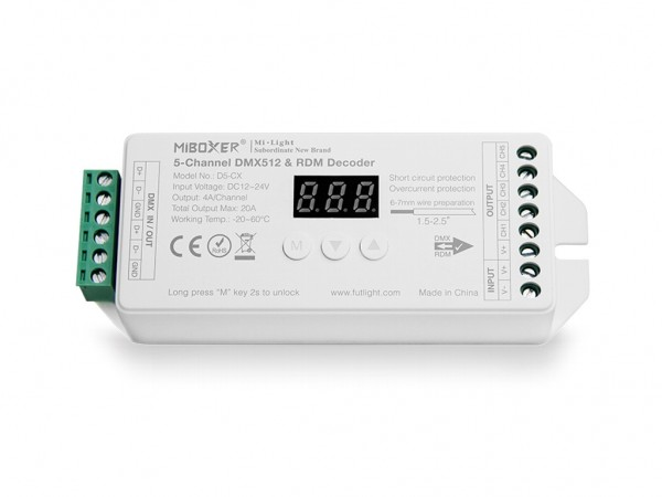 D5-CX DMX/RDM LED Dimmer 5-Kanal DC12-24V 20A