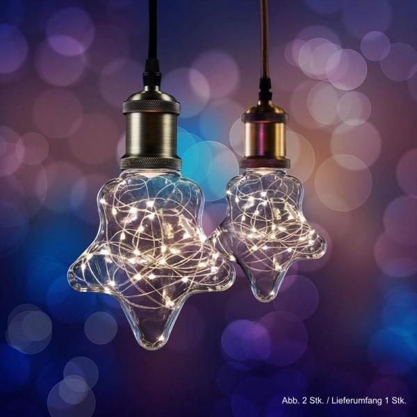 LED Effekt Leuchtmittel Lichterkette Stern E27 1,5W 2700K