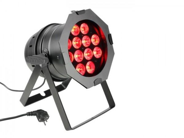 LED PAR64 RGBWA+UV 12x10W 6-in1LED, 9 DMX Kanäle, schwarz