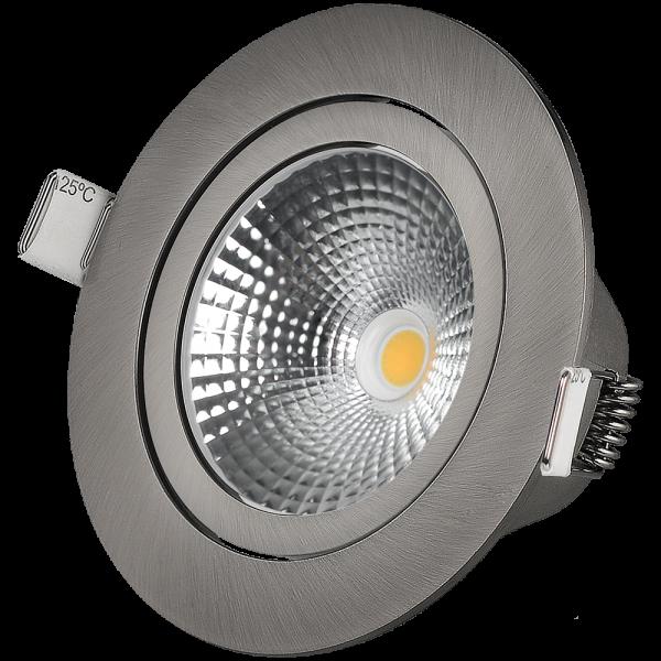 LED Downlight 7W 450lm 2700K + Triac Dimmer Silber