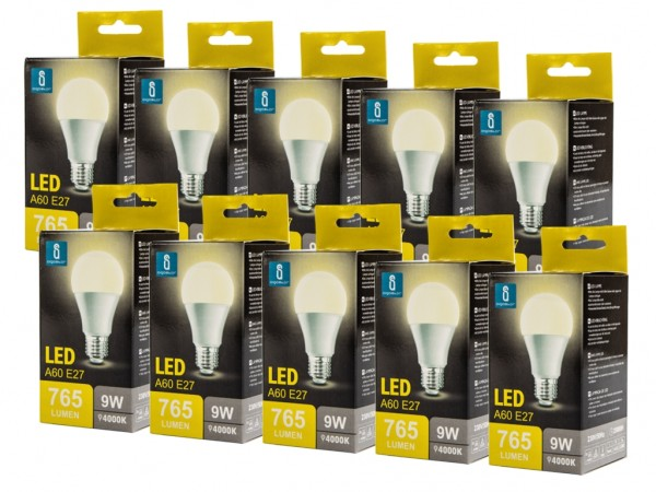 LED Leuchtmittel A60 9W E27 4000K neutralweiss 10er Pack