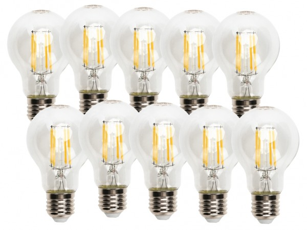 LED Filament Leuchtmittel E27 A60 8W 2700K warmweiss 10er Pack