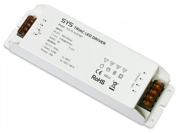 TD-75-12 dimmbarer LED Controller inkl. Netzteil 75W 12V CV