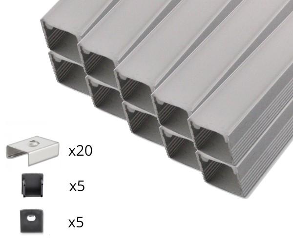10er Set AL-03AB Aufbauprofil inkl. Abdeckung, Endkappen und Halteklammern