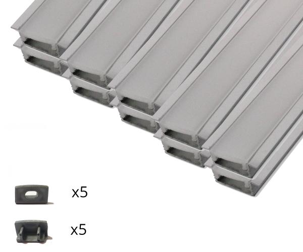 10er Set AL-02EB Einbauprofil inkl. Abdeckung und Endkappen