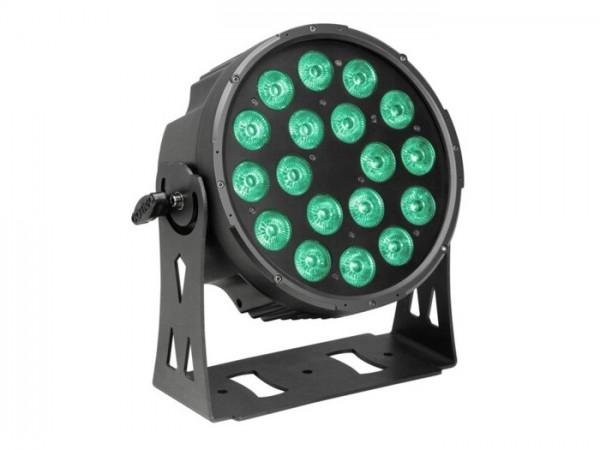 LED FlatPAR IP65 RGBWA 18x10W, 8 DMX Kanäle, schwarz