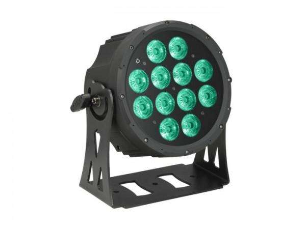 LED FlatPAR IP65 RGBWA 12x10W, 8 DMX Kanäle, schwarz
