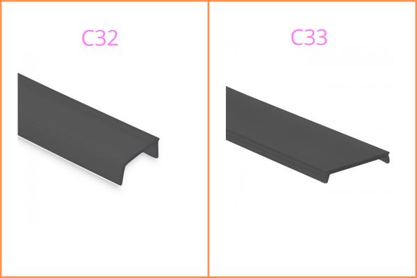 Kunstoffblende schwarz zu LED-Aluprofil YL1-3, 7, 8, 13 und YN4-7