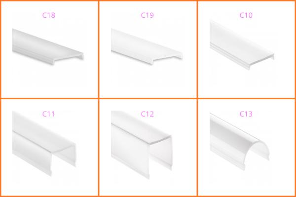Kunststoffblende zu LED-Aluprofil YN/TBP 4 / 5 / 6 / 7