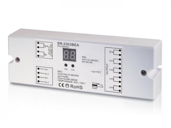 SR-2303BEA DALI LED Controller 4-Kanal 4x8A 12-36V