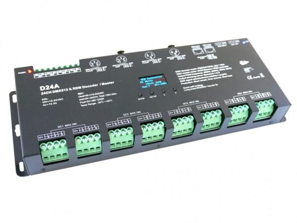 D24-OLED 24-Kanal DMX/RDM LED Controller 16bit XLR RJ45 Stand-alone