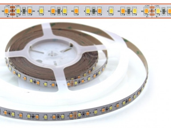 LED Flex Stripe 5m CCT Weissmischung ww/cw 2835 SMD 120 LEDs/m SUPER BRIGHT 1500lm 24V
