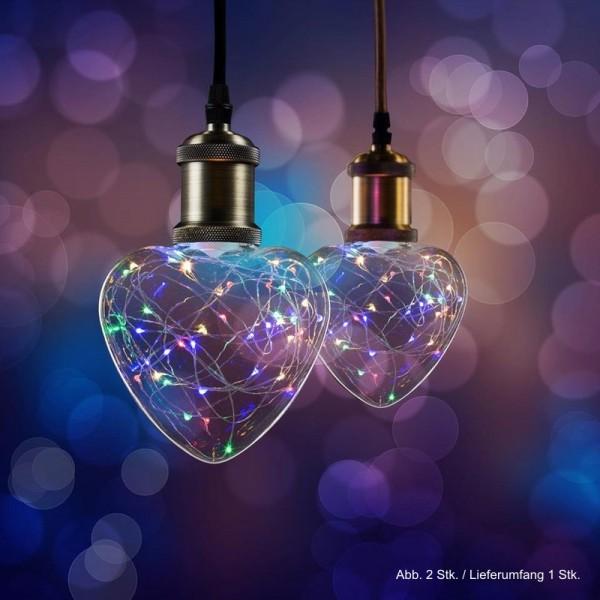 LED Effekt Leuchtmittel Lichterkette Herz E27 1,5W multicolor