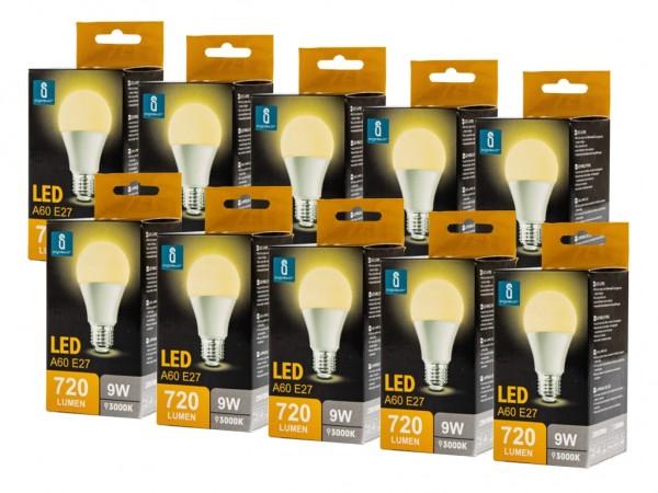 LED Leuchtmittel A60 9W E27 3000K warmweiss 10er Pack