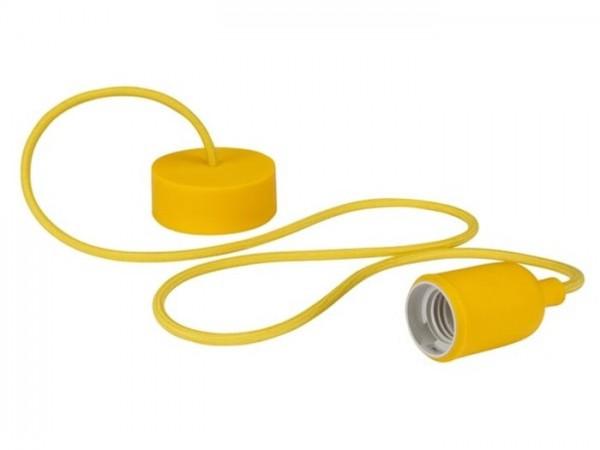 E27 Kabelleuchte 1,40m Textilkabel Silikon - gelb -