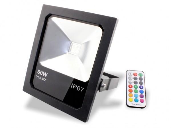 LED RGB Fluter 50W inkl. RF Fernbedienung IP65 230V