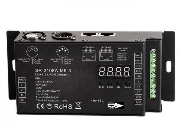 LED Controller SR-2108B-M5-3 DMX / RDM 5x8A - PWM select XLR RJ45