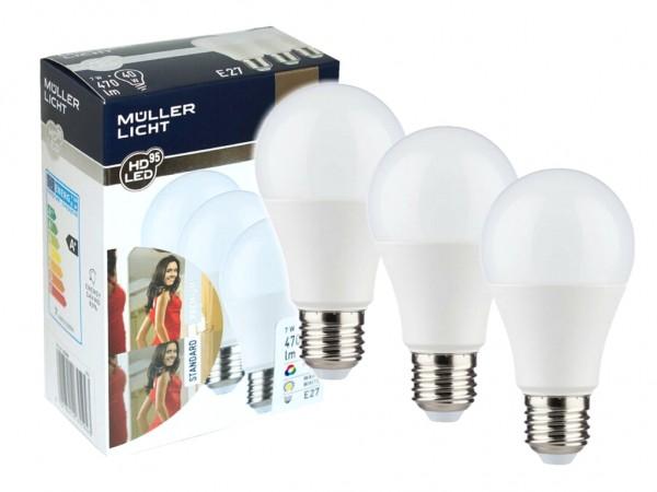 LED Leuchtmittel 3er Set E27 A55 7W 2700K CRI>95 25000h
