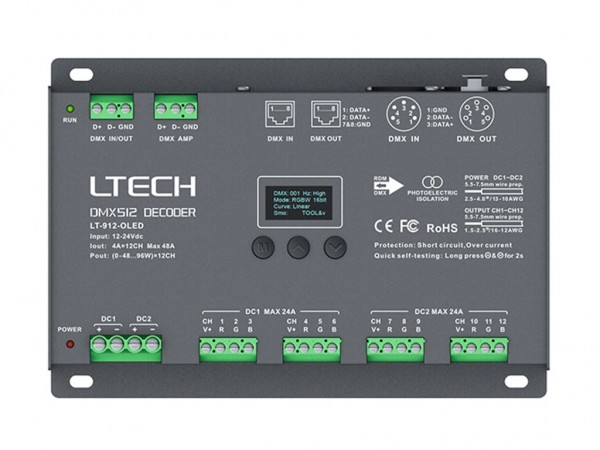 LT-912-OLED 12-Kanal DMX/PWM 12x4A LED Controller