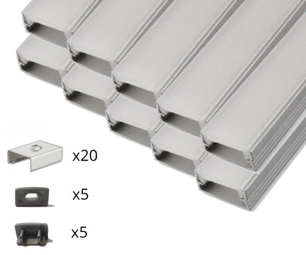 10er Set AL-01AB Aufbauprofil inkl. Abdeckung, Endkappen und Halteklammern