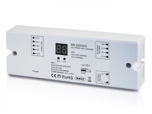 SR-2303AC 230V DALI Controller 2-Kanal Dimmerpack 2x1,2A